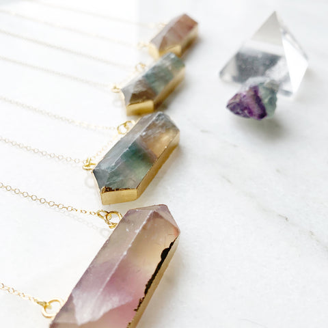 Fluorite Double Terminated Statement Necklace