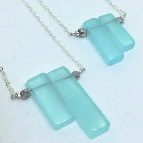 Life is Now - Geometric Beachy Aqua Chalcedony Necklace