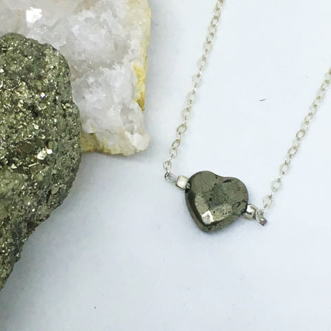 Faceted Pyrite Heart Choker