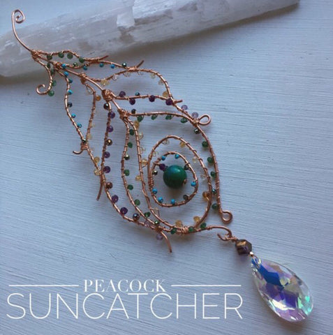 Peacock Feather Suncatcher with Chandelier Drop