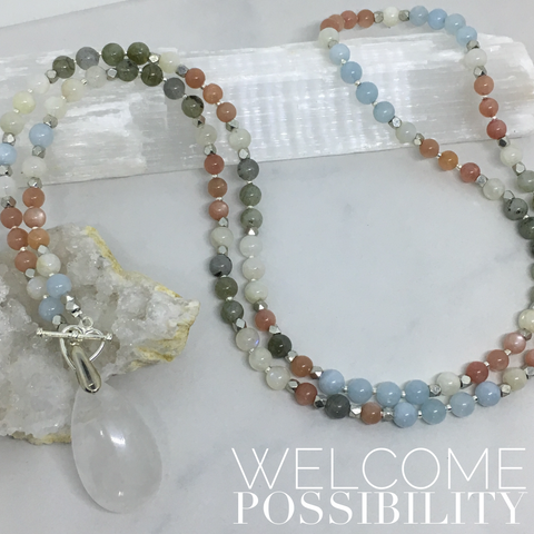 Welcome Possibility - Sunstone, Aquamarine, Labradorite Mini Mala