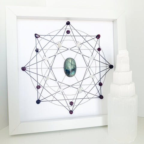 Journey Crystal Grid - Moonstone, Labradorite and Garnet