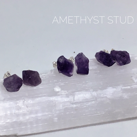 Amethyst Raw Cut Studs