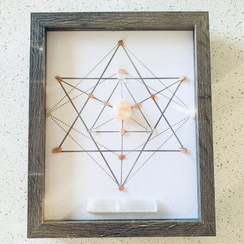 Less Hustle More Grace - Stilbite, Moonstone & Selenite Grid