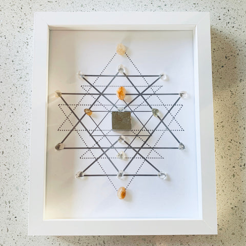 Happiness & Abundance Citrine & Pyrite Crystal Grid