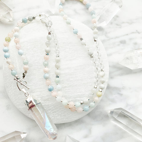 Divine Love - Morganite & Moonstone Mini Mala