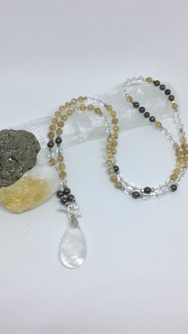 This Moment 108 bead Mini Mala in Citrine Pyrite and Crystal