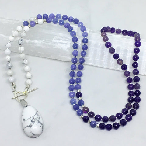 Connected - Howlite, Angelite & Amethyst Mini Mala