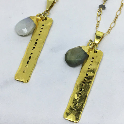 Hope - Morse Code stamped necklace with Gemstone Accent