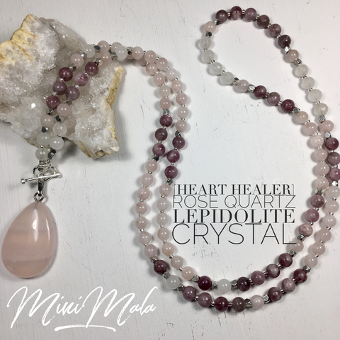 Heart Healer Mini Mala - Lepidolite, Rose Quartz