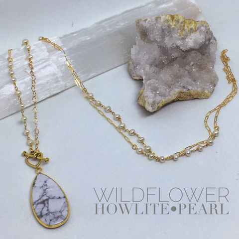 Wildflower - Gold Gemstone Drop