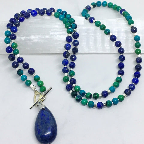 Lapis Lazuli and Chrysocholla Mini Mala