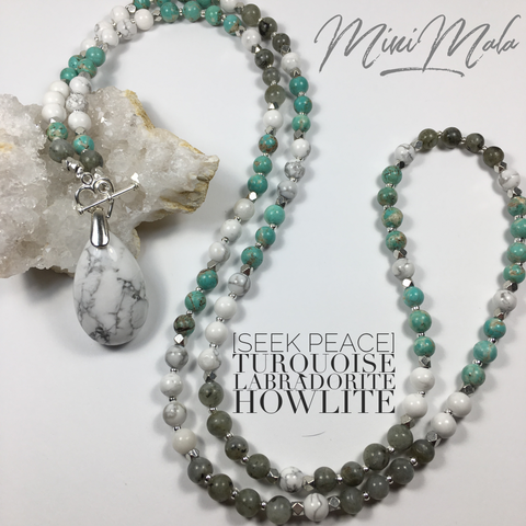 Seek Truth Mini Mala - Turquoise, Howlite, Labradorite