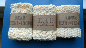 Light Yellow Crocheted Washcloths