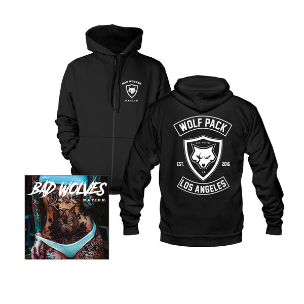 N.A.T.I.O.N. Black Zip Hoodie + Music Bundle
