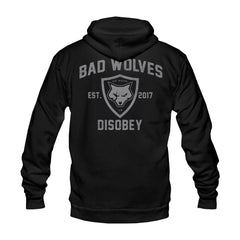 Wolf Shield Athletic Black Zip Hoodie