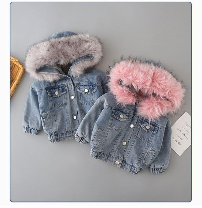Kids Faux Fur Hooded Denim Jacket