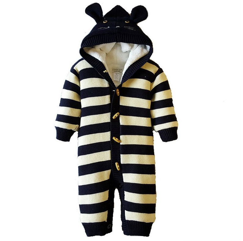 Knitted Stripe Bear Style Sweater Romper