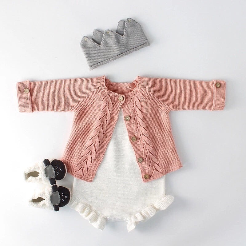 Willow Knitted Cardigan Or Ruffle Legs Knitted Romper NB - 24M