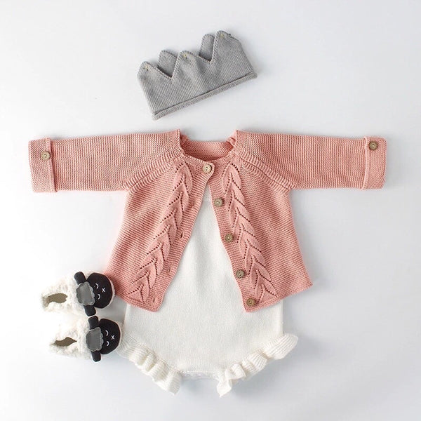 Willow Knitted Cardigan & Ruffle Legs Knitted Romper NB - 24M