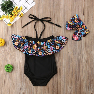 Onesie Flower Ruffle Swimsuit