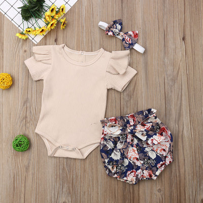 3 piece Solid Short Sleeve Bodysuit and Allover Shorts Set
