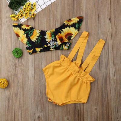 Sunflower Ruffles Crop Top