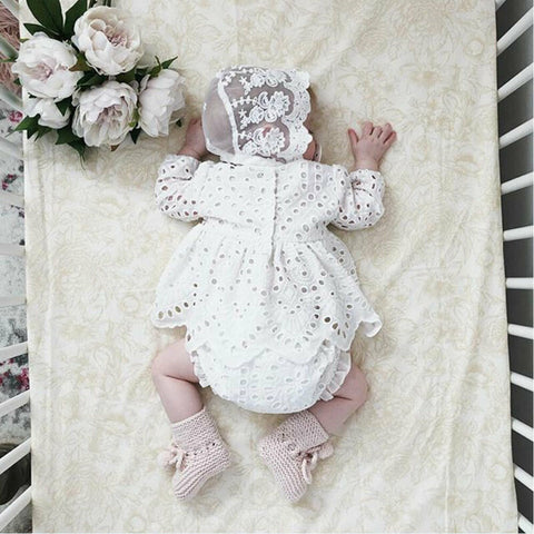 Girls White Isabella Lace Outfit