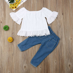 Image of Ruffles Casual Tops With Denim Pants