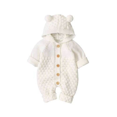 Knitted Pom Pom Hooded Rompers