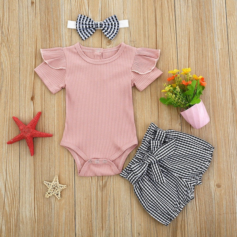 3 Pcs Delly Solid Color Romper