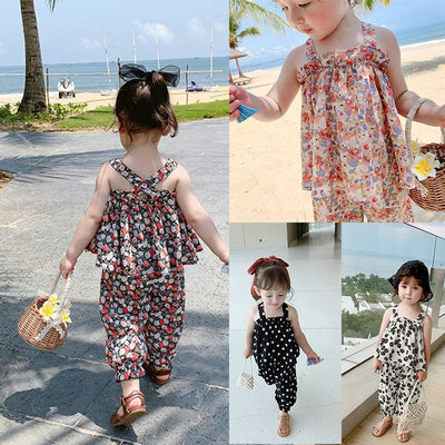 Narrow Strap Flower Suit