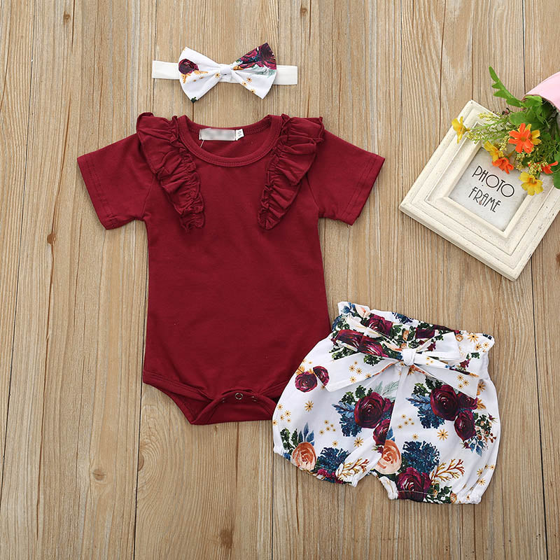 3 Pcs Solid Color Top White Flower Short