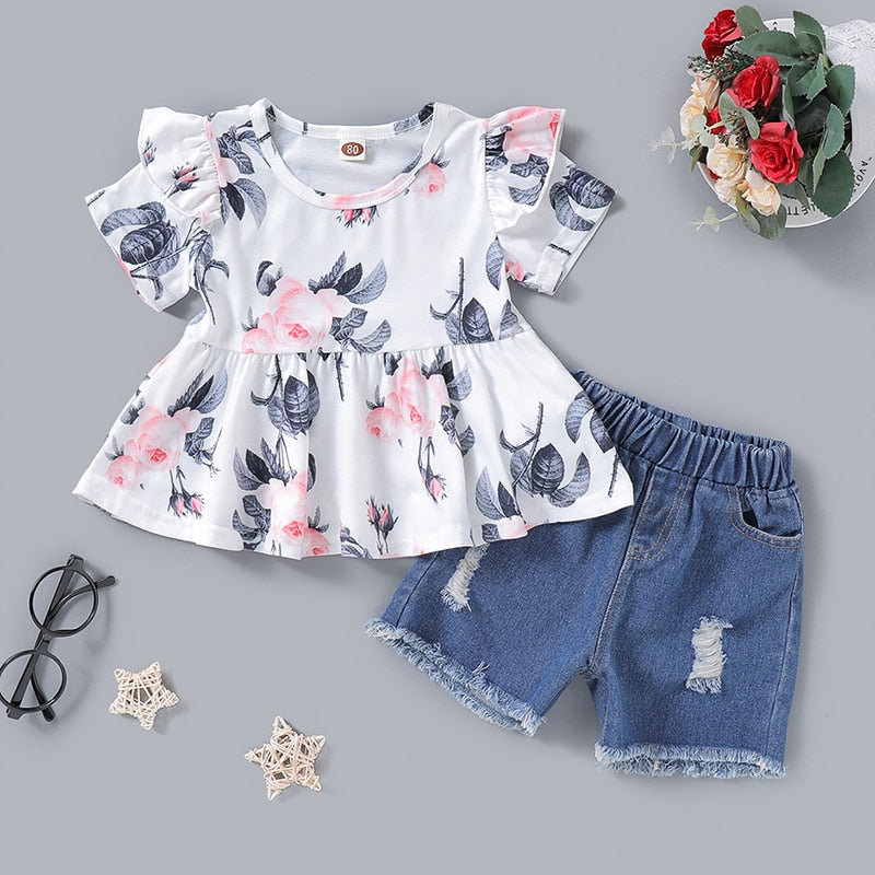 Top Round Neck Big Flower Print Suit + Denim Hole Short