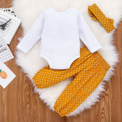 3 Pcs Long Sleeve Romper With Dot Long Pant