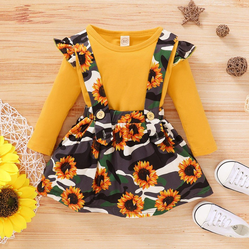 Long Sleeve Shirt With Sunflower Strap Skirt