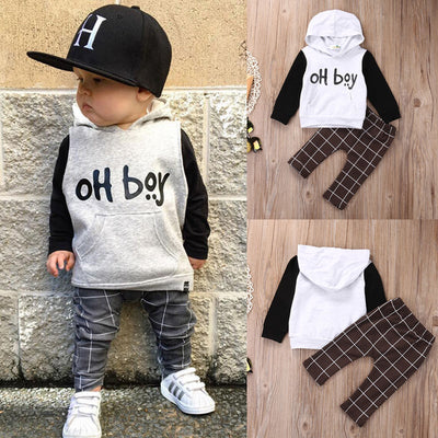 Hooded Oh Boy Outfit With Plaid Pants