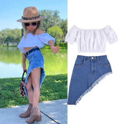 Ruffles Hem Tops With Denim Skirt