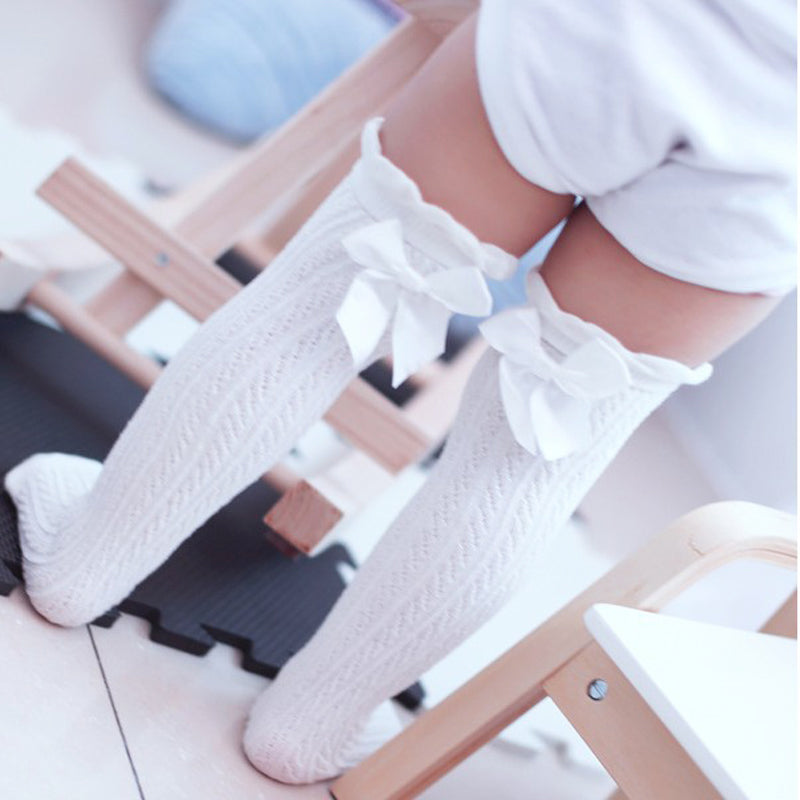 Cute Lace Bow High Knee Socks 1-6 Yrs
