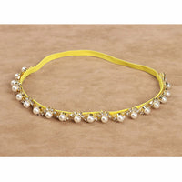 Pearls and Rhinestones Soft Elastic Headband Gold/Silver - 0-18M