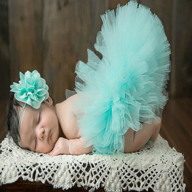 Baby Girl 2 Pcs Photography Set  Tutu+Flower Headbands NB-3M