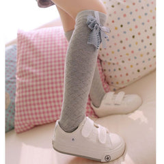 Solid Bow Knot High Knee Socks