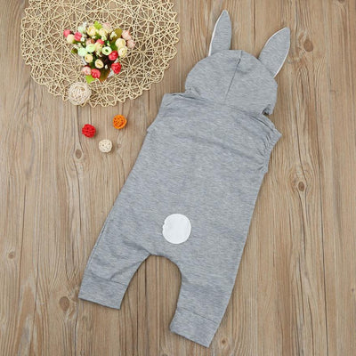 Rabbit Ears Hoodie Sleeveless Jumpsuit 6-24M