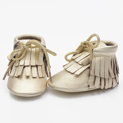 High Top Double Fringe Ankle Bootie Mocs - 100% Genuine Leather