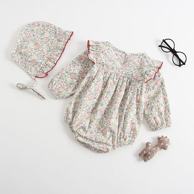 2 Pcs Clara Vintage Bubble Romper + Bonnet Set