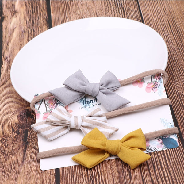 3 Pc Bow Headbands Set 0-24M