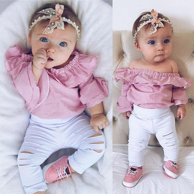 Cute Striped Tops Romper With Ripped Pants 6-24M