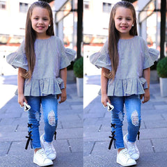 Ruffle Stripe Tops with Denim Pants