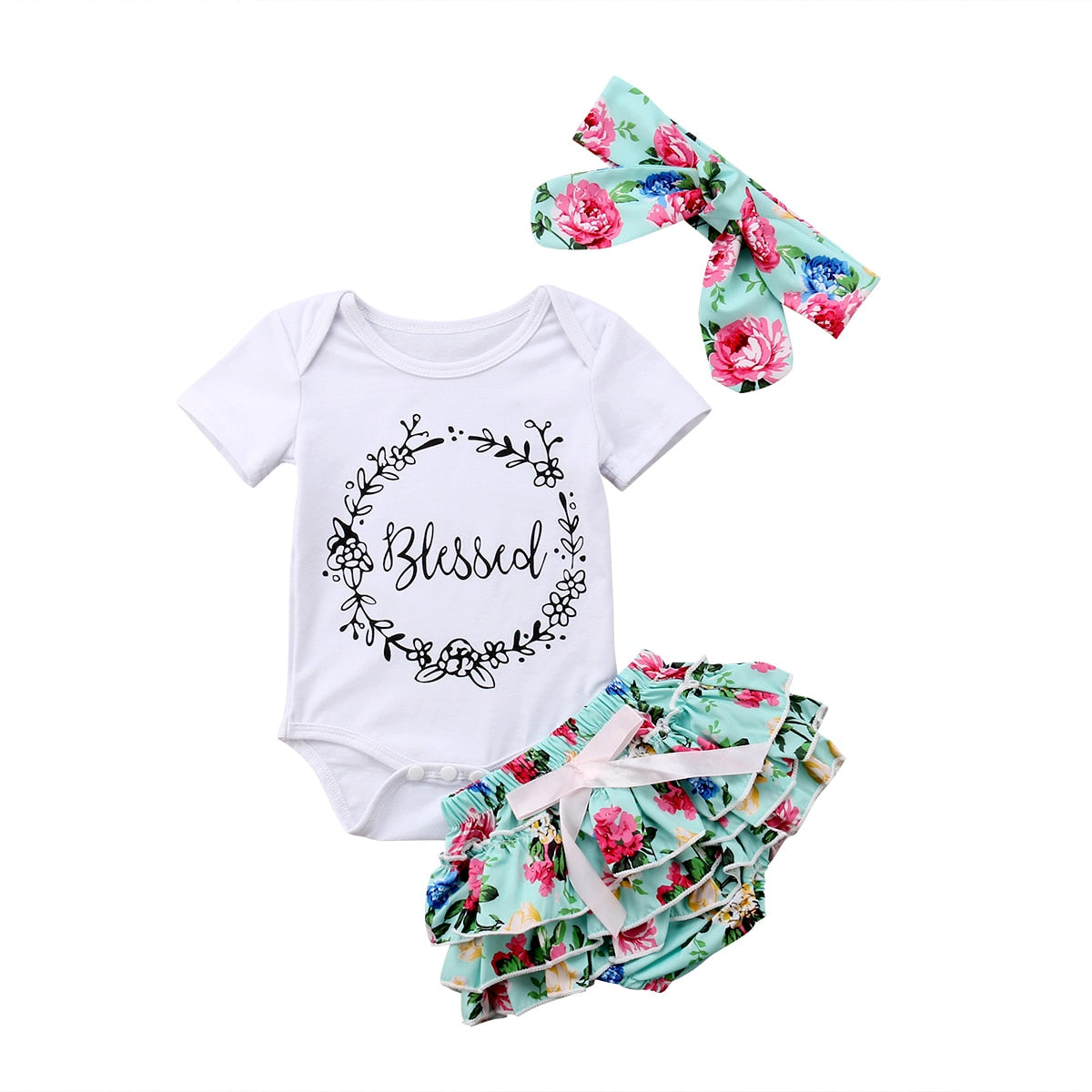 3pc Blessed Rompers With Floral Short