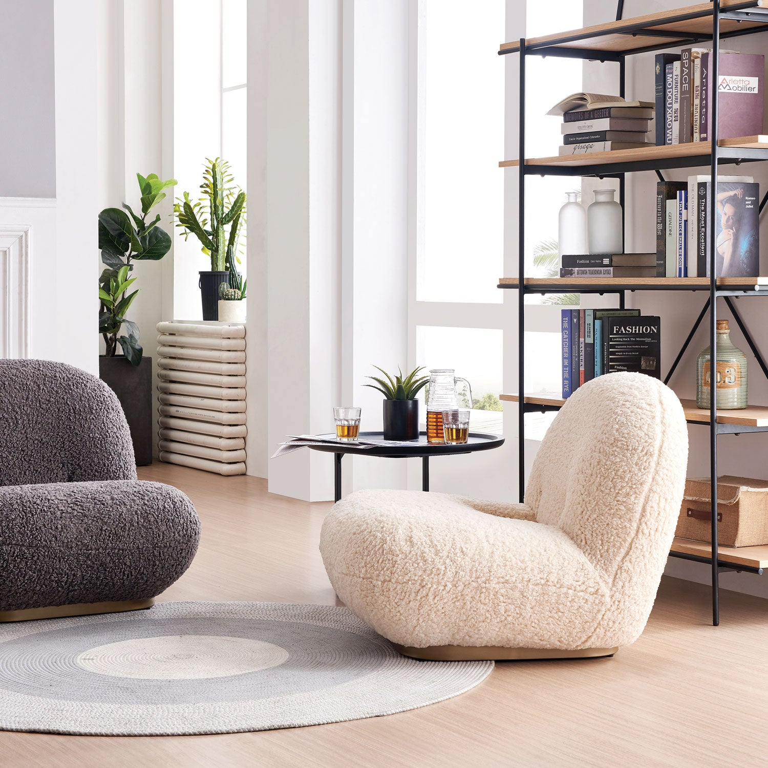 four modern accent chairs